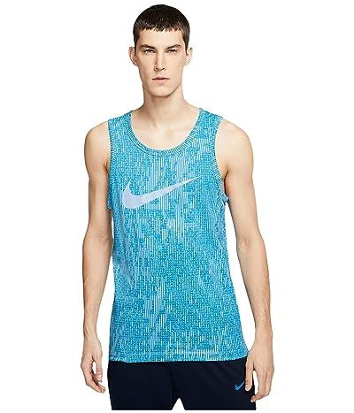 Nike Dri-FITtm Cotton Tank Print (Psychic Blue/Laser Blue) Men