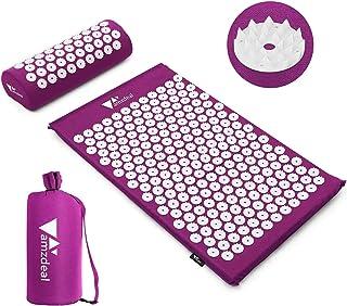amzdeal Kit Tapis d'Acupression 68x42cm, Tapis de Massage en Coton, Tapis de Yoga d' Acupuncture, Comprend Oreiller de Mas...
