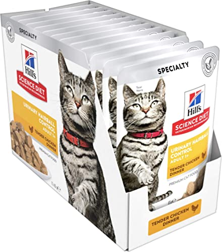 Hill's Science Diet Adult Wet Cat Food, Urinary Hairball Control Chicken Cat Food pouches, 85g, 12 Pack