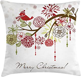 Christmas Throw Pillow Cushion Cover, Sacred Floral Winter Red Bird Hat and Scarf on Blooming Tree Nature Inspired, Decorative Square Accent Pillow Case, 18 X 18 Inches, Green White