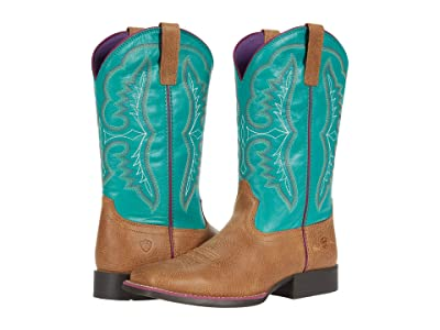 Ariat Kids Wiggle Roomtm Ace (Little Kid/Big Kid) (Light Tan/Turquoise) Cowboy Boots