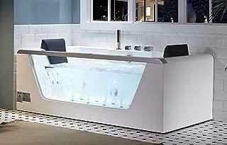 EAGO AM196ETL 6' Clear Rectangular Acrylic Whirlpool Bathtub for Two, White