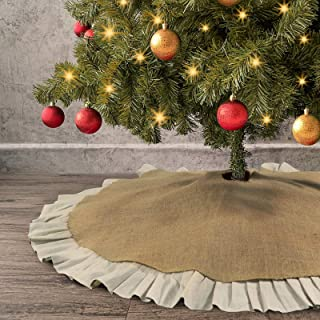 Ivenf Christmas Tree Skirt, 48 inches Natural Burlap Jute with Ruffle Edge, Rustic Xmas Holiday Decoration