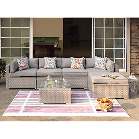 Cosiest 7 Piece Outdoor Furniture Warm Gray Wicker Family Sectional Sofa W Thick Cushions Glass Top Coffee Table 2 Ottomans 4 Floral Fantasy Pillows For Garden Pool Backyard Kitchen Dining