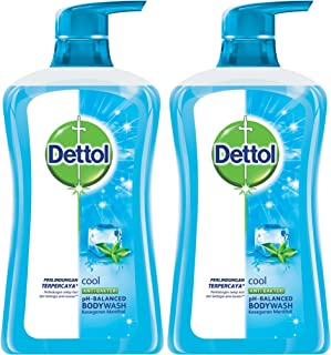 Dettol Anti Bacterial pH-Balanced Body Wash, Cool, 21.1 Oz/625 Ml (Pack of 2)