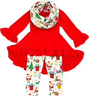 Toddler Little Girls Merry Christmas Outfit Scarf Set - Santa Snowman Reindeer Tree Clothing Sets