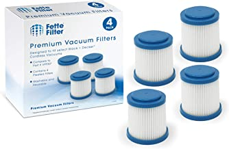 Fette Filter - Pleated Vacuum Filter Compatible with Black + Decker SMARTECH 2-in-1 Cordless Lithium Stick Vacuums. Compare to Part # VPF20 (Pack of 4)