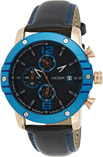 Megir Mens Quartz Watch, Chronograph Display and Leather Strap - 2046G