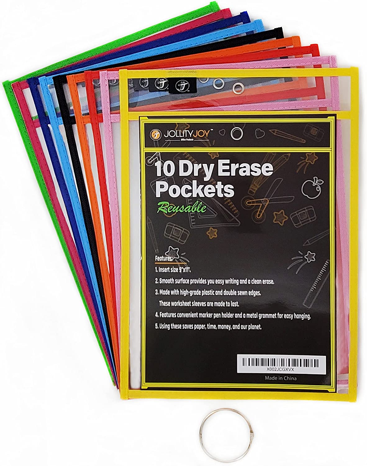 Dry Erase Pockets Deluxe 10 Pack Ranking TOP3 Sleeves Reusable O Color Assorted