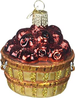 Old World Christmas Ornaments: Fruit Selection Glass Blown Ornaments for Christmas Tree, Apple Basket