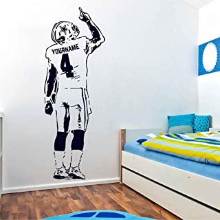 football player wall decal life size football player wall decoration Personalized Name and Number Custom stickers boy's name wall art for Boy's Room ik3342