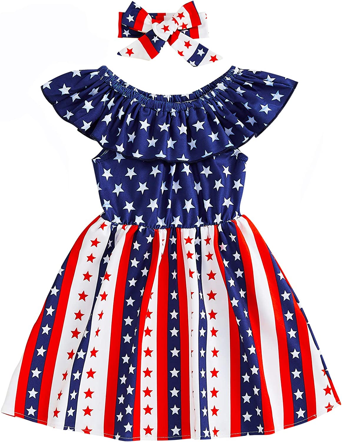 Inventory cleanup selling sale Toddler Baby Girl 4th of Dresses Ruffle July Dress Indefinitely Off-Shoulder