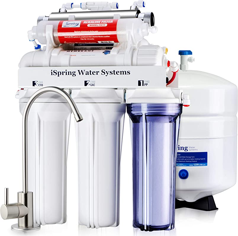 ISpring RCC7AK UV Deluxe Under Sink 7 Stage Reverse Osmosis Drinking Water Filtration System With Alkaline Remineralization And UV Sterilizer