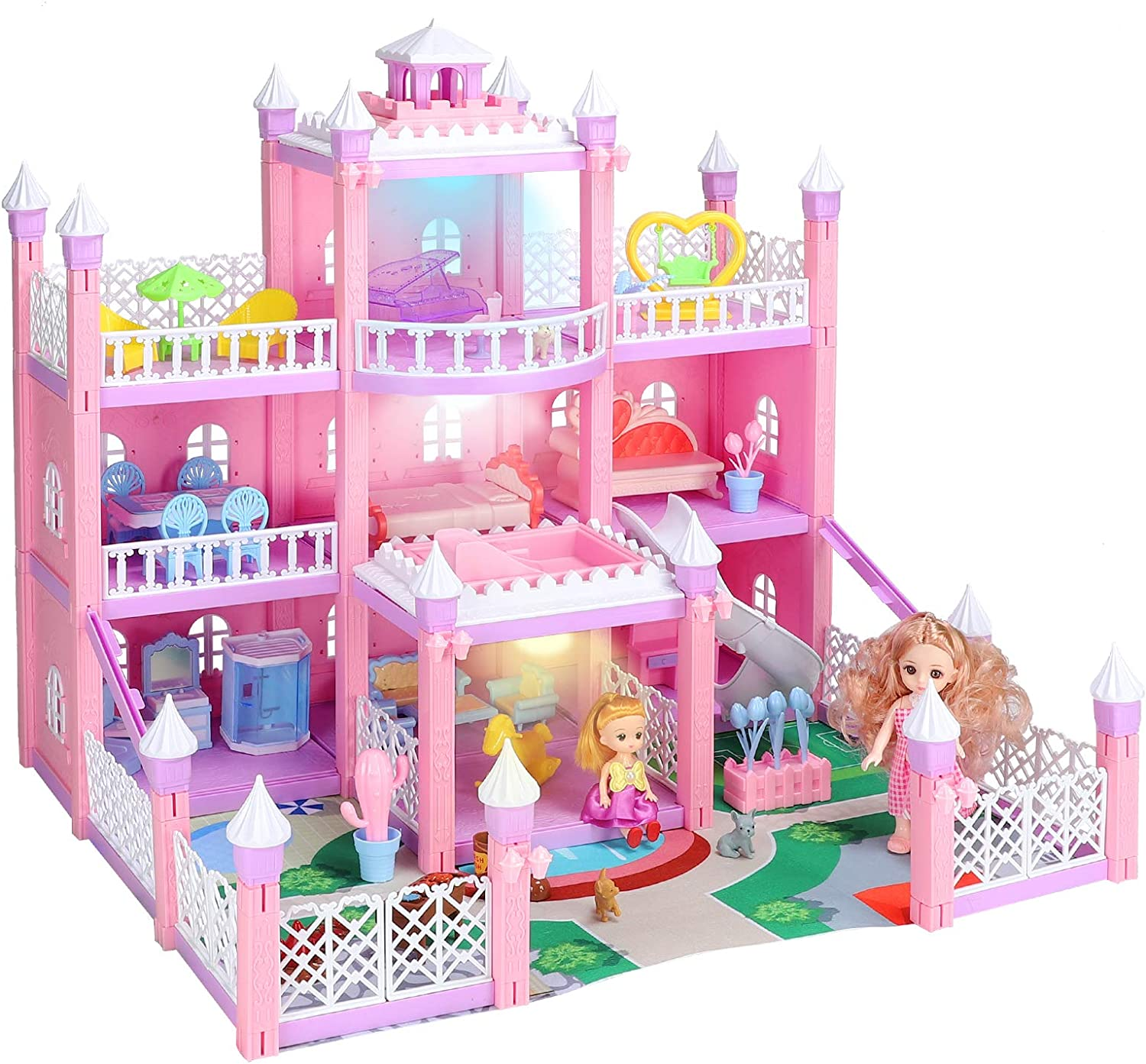 KAINSY Dollhouse, Dream House Kit with Led Luminous DIY Pretend Play Doll House Building Toys Playset Accessories with Furniture/Dolls/Pets/Slide for Toddlers Girls Best Gifts (11 Rooms & 3 Lights)