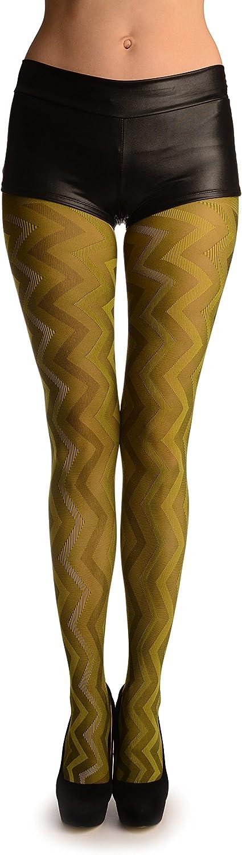 Pear Green Shade Woven ZigZag - Pantyhose (Tights)