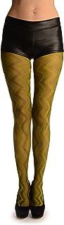 LissKiss Pear Green Shade Woven ZigZag - Grün Strumpfhose Einheitsgroesse 34-40
