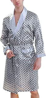 f830ca6931 Men s Printed Bathrobes Luxurious Kimono Soft Satin Robe with Shorts  Nightgown