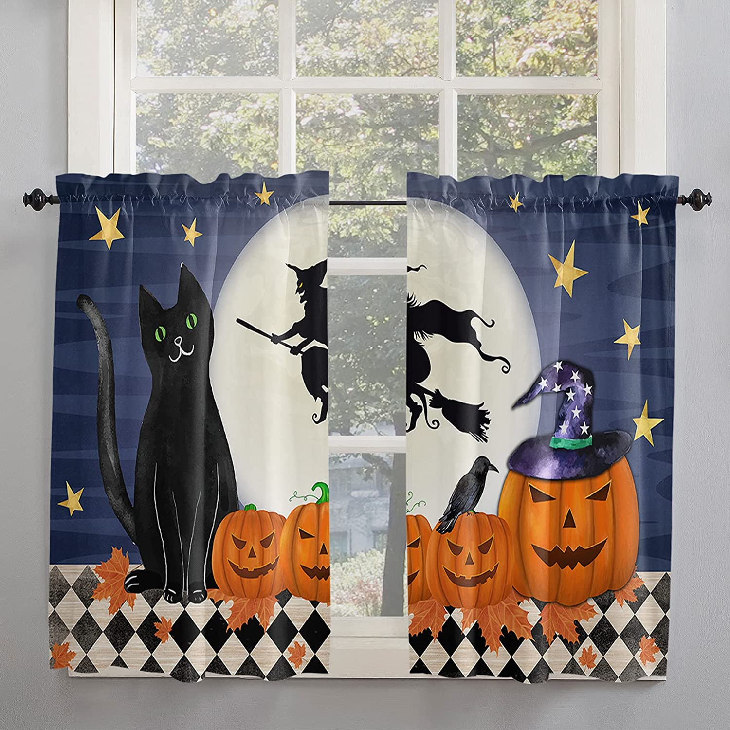 Black Cat Clearance SALE! Limited time! Same day shipping Full Moon Buffalo Kitchen 54 Curtains Inch Length for