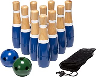 Wooden Lawn Bowling Set with Ten 8-Inch Pins and 2 Balls - Includes Bonus Carrying Bag!