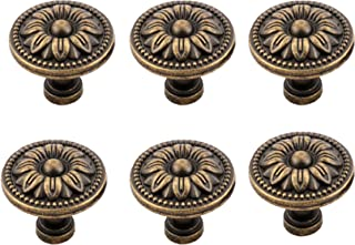 Antrader Pull Handle Metal Flower Shape Cabinet Drawer Door Knob Bronze Tone Pack of 6