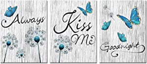 Kalormore Bedroom Picture Decoration Turquoise Blue Butterfly and Dandelion with Elegant Always Kiss Me Goodnight Painting Rustic Grey Wooden Textured Giclee Canvas Wall Art Decor Ready to Hang
