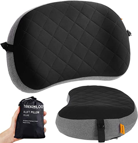 Inflatable Pillow for Camping, Removable Foam Cover Pillow for Backpacking, Travel, Hiking, Ultralight Blow Up Air Pi...