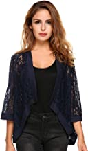Zeagoo Women's Casual Lace Crochet Cardigan 3 4 Sleeve Sheer Cover Up Jacket Plus Size
