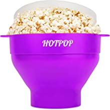 The Original Hotpop Microwave Popcorn Popper, Silicone Popcorn Maker, Collapsible Bowl Bpa Free and Dishwasher Safe- (Purple)