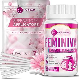 Sponsored Ad - HealthFare Boric Acid Vaginal Suppositories - 600mg - Feminiva with 7 Applicators - Intimate Health Support...