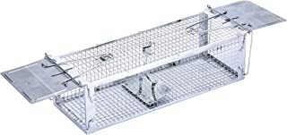 """AB Traps Pro-Quality Live Animal Humane Trap Catch and Release Rats Mouse Mice Rodents and Similar Sized Pests - Safe and Effective - 16"""" x 5.5"""" x 4.5"""" Silver Extended Dual Door Trap"""