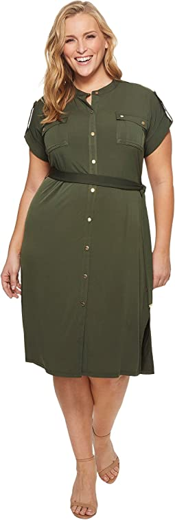 MICHAEL Michael Kors - Plus Size Snap Sleeve Shirtdress