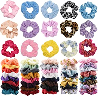 55 pcs Large Size Scrunchies - 11 Vintage Velvet & 11 Silk & 11Cotton &11 Flower Chiffon & 4 Rainbow & 7 Shiny Metallic Elastic Hair Bands, Scrunchy Ties Ropes for Woman, Great Gift for Christmas