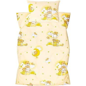 Amilian Ropa de cama infantil de 2 piezas, 100% algodón, ropa de cama para bebé, funda nórdica de 100 x 135 cm, funda de almohada de 40 x 60 cm, con cierre de hotel, oso en la escalera, color crudo
