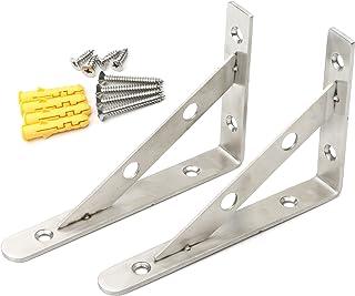 JIUWU 1 Pair Stainless Steel Solid Shelf Brackets Layer Wall Hanging Tripod Shelf Support Corner Brace Joint Right Angle F...