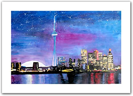 Amazon Com Art Wall Toronto Skyline At Night Unwrapped Canvas Artwork By Martina Bleichner 20 By 28 Inch Oil Paintings Posters Prints