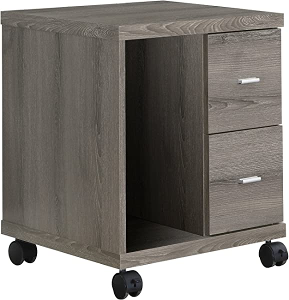 Monarch Specialties I I 7056 Reclaimed Look 2 Drawer Computer Stand Castor Dark Taupe