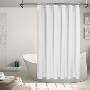 Barossa Design Cotton Blend Shower Curtain Honeycomb Waffle Weave, Soft & Hotel Spa, Washable, White, 72 x 72 inch