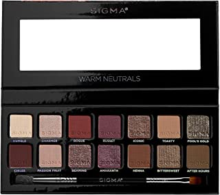 Sigma Beauty Warm Neutrals Eyeshadow Palette 14 shades and 1 dual-ended brush