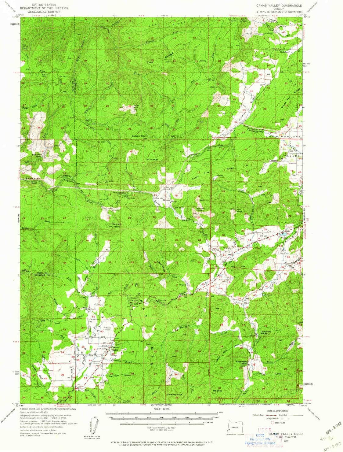 YellowMaps Camas Valley OR topo map 1:62500 15 X Minu Choice Scale Max 83% OFF