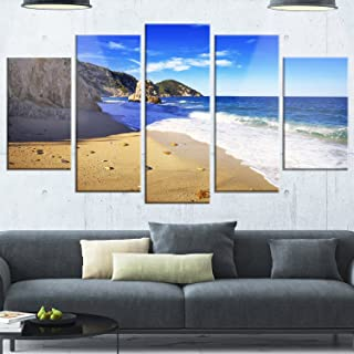 Designart MT11382-373 Metal Wall Art, 60x32-5 Panels Diamond Shape, Blue
