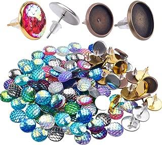 Pendientes Componentes,24 Piezas Base de Pendiente Redondo Bisel en Blanco de Aretes con 24 Piezas Cierres Silicona & 100 Piezas Cabujones Cristales de Escamas de Pescad,4 Colores