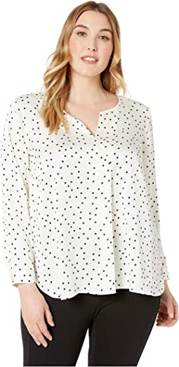 Plus Size Long Sleeve Crisp Polka Dot Split-Neck Tunic