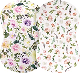Pobibaby - 2 Pack Premium Bassinet Sheets for Standard Bassinets - Ultra-Soft Organic Cotton Blend, Stylish Floral Patter...