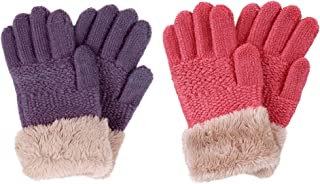 2 و 3 بسته کودکان و نوجوانان دستکش لمینت بافتنی زمستانی با Faux Fur Cuff