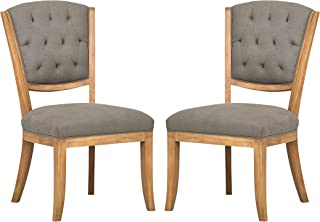 """Amazon Brand – Stone & Beam Bergen Tufted Dining Room Chairs, 25""""W, Set of 2, Slate Grey, Oak Finish, Solid Wood Frame"""