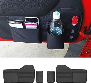 JeCar Front Door Pocket Storage Bag Durable Nylon Oxford Storage Organizer for 2011-2018 Jeep Wrangler JK JKU 2/4 Door, Interior Accessories, 4 PCS