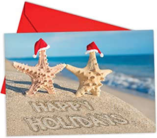 12 Boxed 'Season's Beachin' Starfish' Christmas Cards with Envelopes 4.63 x 6.75 inch, Happy Holidays with Starfish Couple at Beach Christmas Notes, Beachy, Warm Christmas Holiday Notes B6651FXSG