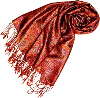 Womens Scarf Pashmina 100% Silk 29x75'' Paisley Orange 78087