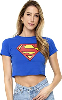 Superman Classic Logo Supergirl Juniors Teen Girls Crop Top T Shirt & Stickers