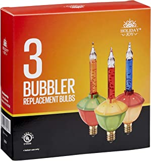 Holiday Joy - 3 Multi-Color Christmas Bubble Light Replacement Bulbs - Color Bulbs